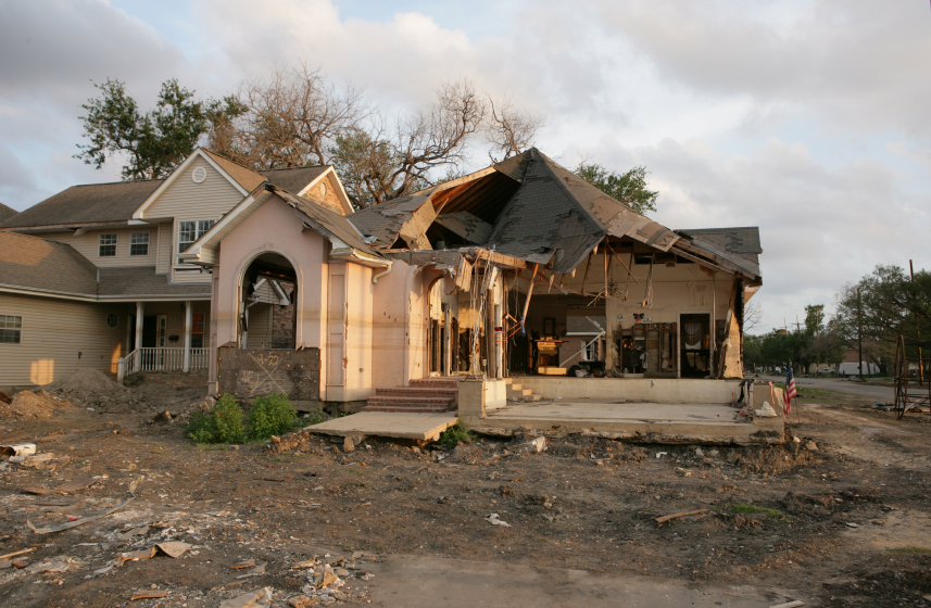 Flood Damaged home in New Orleans near the 17th Street Canal.